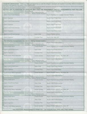 アメリカでの個人間の自動車売買時の書類 権利証