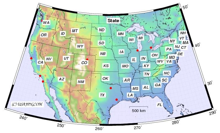 アメリカの州マップ