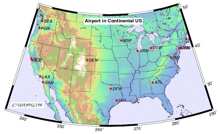 アメリカの空港マップ