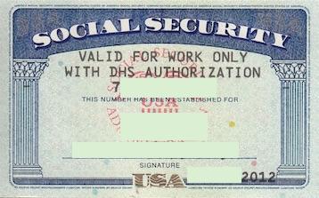 ソーシャルセキュリティカード Work Only 制限付き
