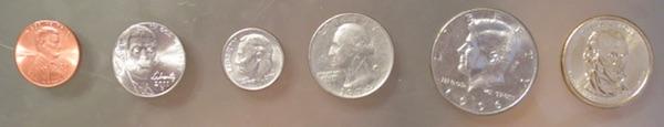 アメリカのコイン 表