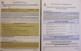 アメリカのパスポート申請書
