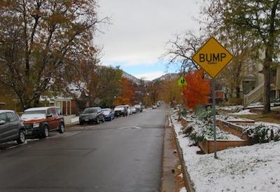 アメリカの交通標識 でこぼこ