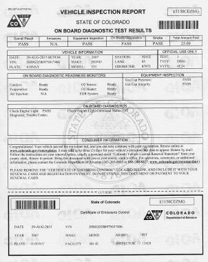アメリカのエミッションテスト 証明書