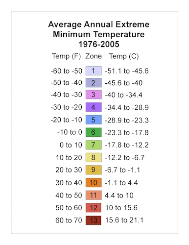 USDA 植物耐寒性マップ