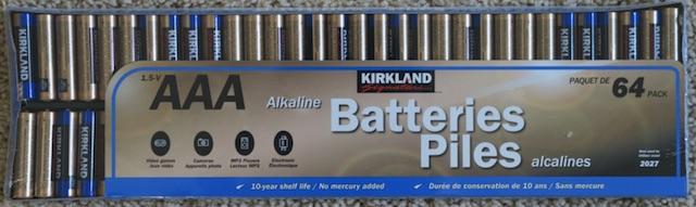 コスコで売っている電池パック 64パック