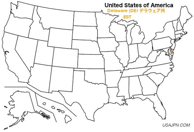アメリカ合衆国 デラウェア州の地図