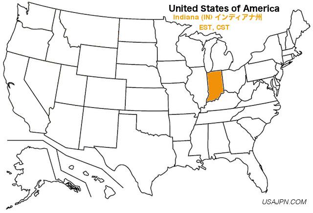 アメリカ合衆国 インディアナ州の地図