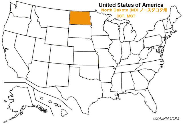 アメリカ合衆国 ノースダコタ州の地図