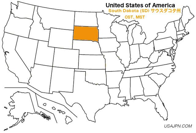 アメリカ合衆国 サウスダコタ州の地図