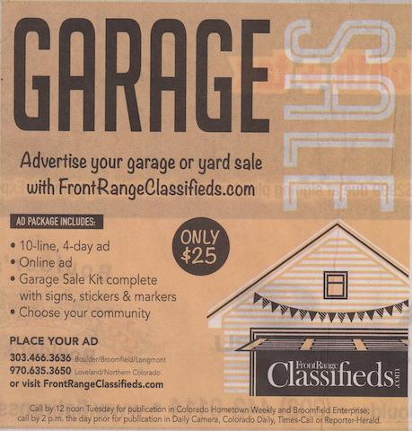 アメリカのガレージセール 新聞広告