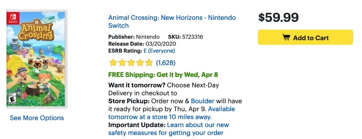 Animal Crossing New Horions -Best Buy